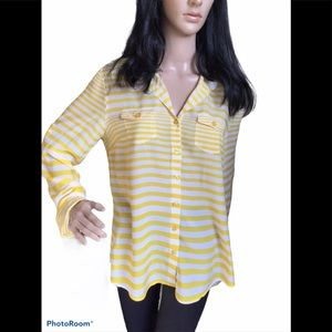 Velvet Heart Yellow/White Stripe Button Down Shirt